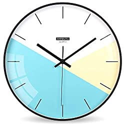EMIROOM Modern Colorful Wall Clock, 12 inch Silent Non-Ticking Quartz Metal Wall Clock, Battery Operated, Simple Style Decorative for Bedroom, Living Room, Kitchen, School and Office (Blue)