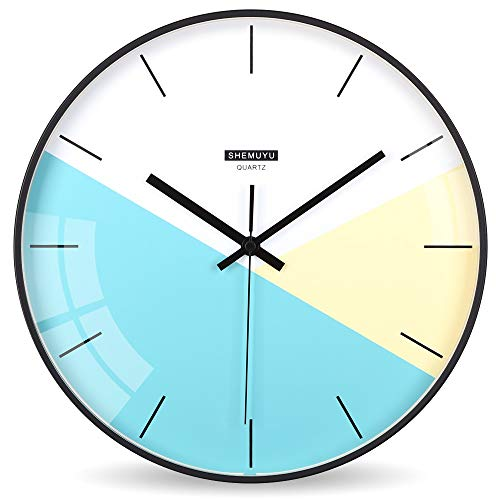 EMIROOM Modern Colorful Wall Clock, 12 inch Silent Non-Ticking Quartz Metal Wall Clock, Battery Operated, Simple Style Decorative for Bedroom, Living Room, Kitchen, School and Office (Blue) (Modern Clocks Kitchen)
