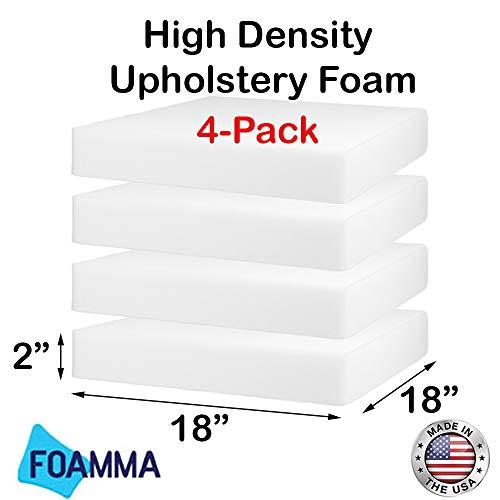 "FOAMMA (4-Pack) 2"" x 18"" x 18"" HD Upholstery Foam High Density Foam (Chair Cushion Square Foam for Dinning Chairs, Wheelchair Seat Cushion Replacement)"