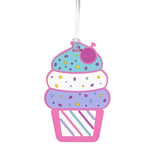 BonBini Cupcake Jumbo Luggage Tag with Fun Head-Knot Strap and Name ID (Cupcake Luggage Tag)