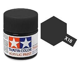 Tamiya Models X-18 Mini Acrylic Semi Gloss Paint, Black from MMD Holdings, LLC