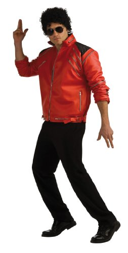 Michael Jackson Deluxe Zipper Jacket, Red, Large Costume