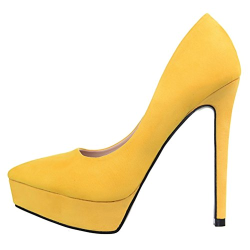 Vestido de plataforma mujer HooH aguja de amarillo Office tacón para sexy de RzcrSR