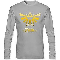 TOTOT Men's The Legend Of Zelda Triumphant Triforce Game Long Sleeve Cotton T Shirt light grey M