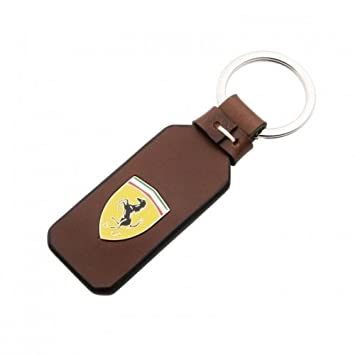 Ferrari Genuine Leather Keyring badge metal/brown Amazon.co