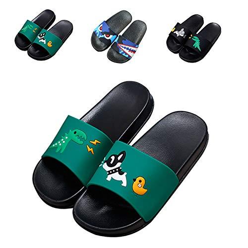 JACKSHIBO Boys Girls Slide Sandals, Outdoor Indoor Sandals Beach Water Flip Flop Green 12.5 Little ()