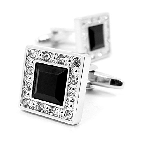LBFEEL Square Black Glass Cufflinks with White Crystals for Men with a Gift Box