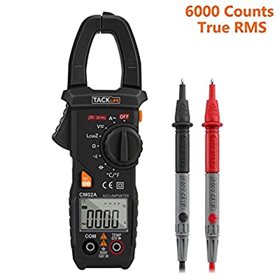 Tacklife CM02A Advanced 600 Amp Digital Clamp Meter TRMS 6000 Counts NCV with AC/DC Voltage Test Temperature Measure Auto-Ranging Multimeter