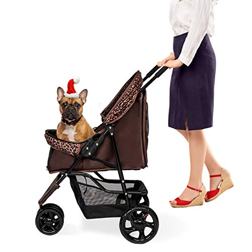 Kinsuite Pet Stroller Travel Carriage Folding Carrier with Storage Basket for Small Medium Large Cats/Dogs