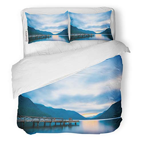 Semtomn Decor Duvet Cover Set Twin Size Scenic View of Dock in Lake Crescent Olympic National Park Washington State USA 3 Piece Brushed Microfiber Fabric Print Bedding Set Cover -