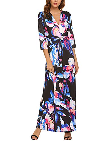 Qearal Women's V Neck 3/4 Sleeve Digital Floral Printed Party Loose Long Maxi Dress (X-Large, - Dress Twist Front Maxi