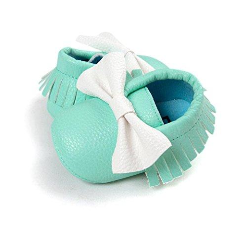 Hunpta Babyschuhe Mädchen Jungen Lauflernschuhe Kleinkind Baby Bowknot Quasten Schuhe weiche Sohle Turnschuhe Freizeitschuhe (12, Rot) Blau