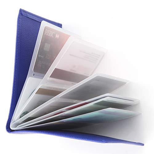 RFID Blocking Wallet - Leather Business Credit Card Holder Case/Wallet Insert Card Sleeves - Blue