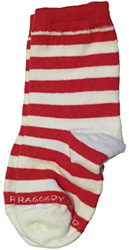 Red & White Stripe Crew Socks - Toddler / Baby 1T 2T - Raggedy Ann, Rag Doll & Elf Candy Cane Striped