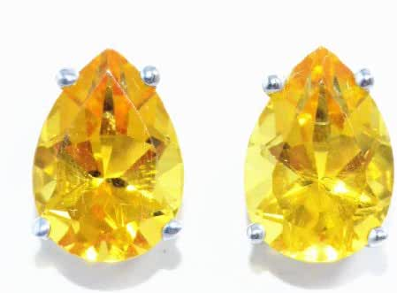 4 Carat Simulated Citrine Pear Stud Earrings .925 Sterling Silver Rhodium Finish
