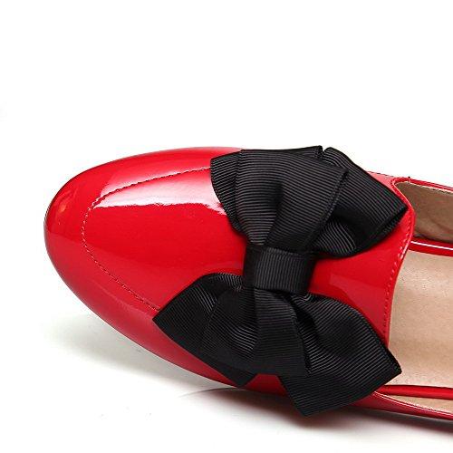 AllhqFashion Mujeres Puntera Redonda Cerrada Sólido Mini Tacón De salón con Lazos Rojo