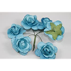 """Small Rose Bulk Paper Flowers 1.25"""" Turquoise (144 Stems) 93"""