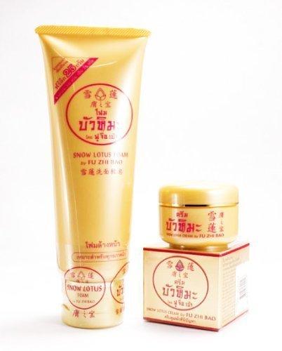 Set Fu ZHI BAO Snow Lotus Facial Cleansing Foam & Skin Whitening Lightenning Cream