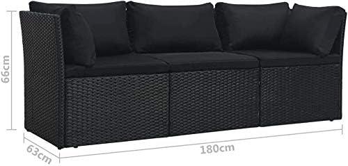 Sofa with Peninsula Vine Garden Lounge,Black Combination Garden Sofa Set Corner Sofa 4 Black Garden Sofa Vine Garden Corner Sofa Set