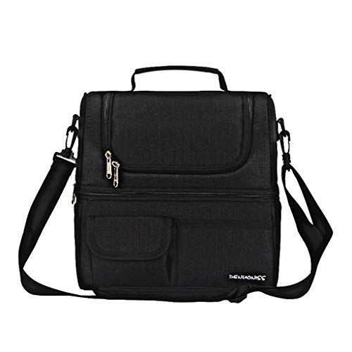 LEERYAAY Premium Insulated Medium Lunch Bag with Shoulder Strap Lunch Box Cooler Black from LEERYAAY