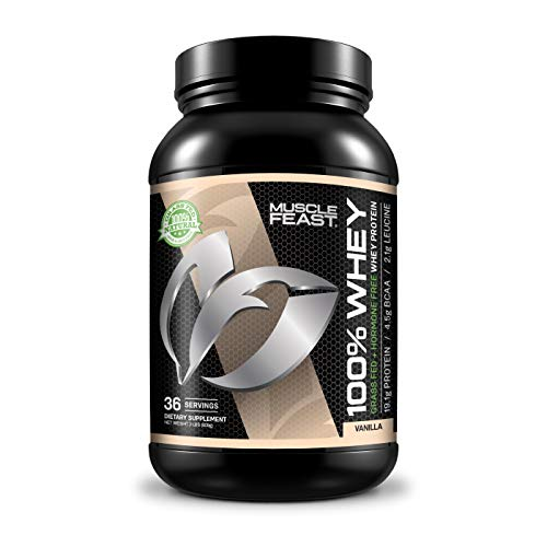 Cheap 100% Whey Protein | Grass Fed & Hormone Free | Blend of Isolate, Concentrate and Hydrolyzed Whey Protein (2lb, Vanilla)