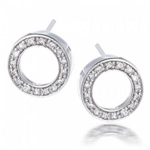 Sterling Earrings Silver Open Circle - Bling Jewelry Sterling Silver Pave Clear CZ Open Circle Stud Earrings