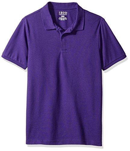 - IZOD Uniform Young Men's Short Sleeve Pique Polo, Purple, Large