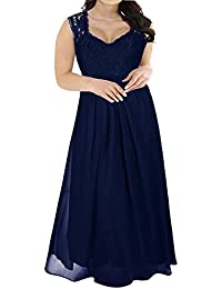 09f08a48637 Women s Deep- V Neck Sleeveless Vintage Plus Size Bridesmaid Formal Maxi  Dress