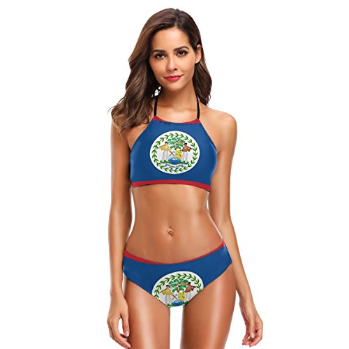 Belize National Flag 2 PC Swimsuits Woman Bikini High Neck Swimwear