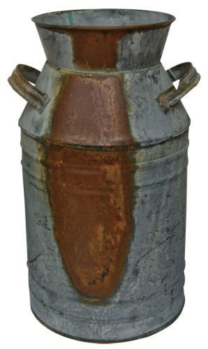 "Milk Can - 10-3/4"" Galvanized Finish - Country Rustic Primitive Jug Vase by H.S."