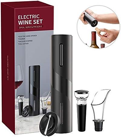 Enkomy Juego de abridor de Vino 4 en 1, sacacorchos eléctrico Juego de abridor de Botellas de Vino Abridor de Botellas Profesional