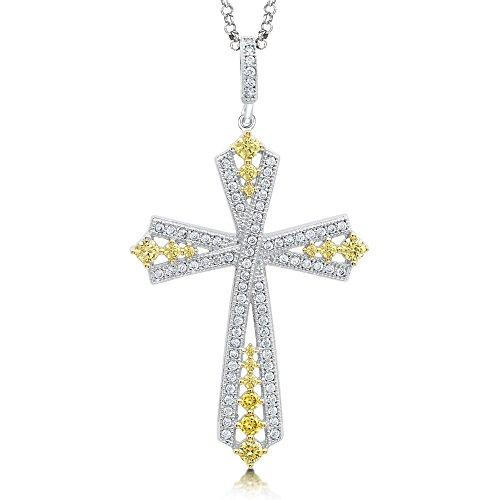 Signity Pendentif Croix argent Sterling avec zircone taille princesse jaune canari en pierre avec corindon