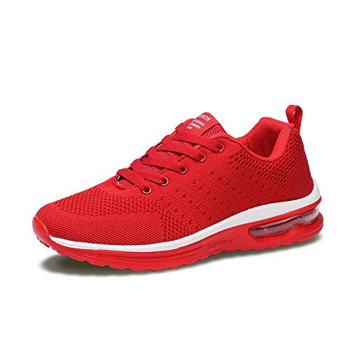 Tisomen メンズ ランニングシューズ ニット エアクッション ウオーキングシューズ ジュニア 通学靴 運動靴 スポーツ アウトドア カジュアル お洒落 通気 歩きやすい 赤/黒/グレー