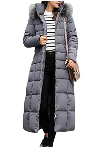 Jacket Thicken Gery Hooded Winter Trim Down Warm Women's Fur TTYLLMAO PRqw8Ya