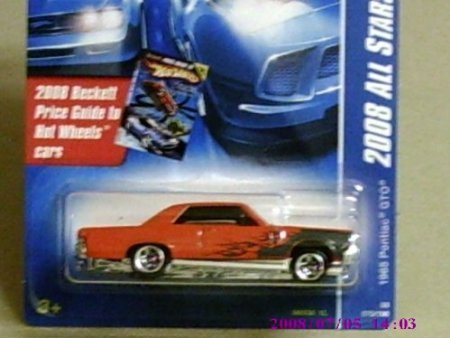Hot Wheels 2008 All Stars Orange 1965 Pontiac GTO w/ 5SPs on Beckett Price Guide Card #70 1:64 Scale