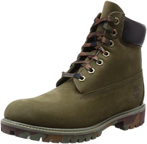Timberland Men's Icon 6 Inch Premium  Boot, Olive Nubuck/Camo Outsole, 14 M US