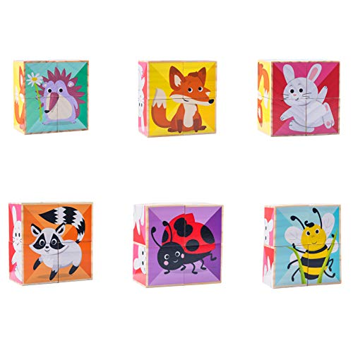 CRUISTORE Toys 6 in 1 Wooden Big Cube Animal Puzzle Blocks | Rabbit,Fox,Raccoon,Bee,Ladybug,Hedgehog Patterns Blocks |Early Educational Toys for Babies Boys and Girls