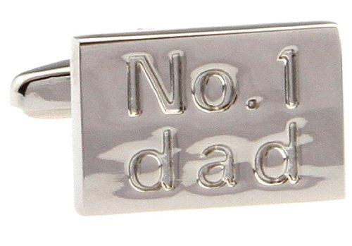 MRCUFF No. 1 Dad Pair Cufflinks in a Presentation Gift Box & Polishing (1 Dad Cufflinks)