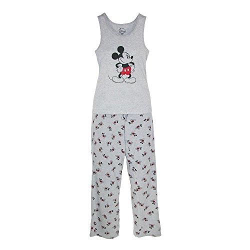 Disney Mickey Mouse Womens Tank and Pant Pajama Set, Grey, Medium -
