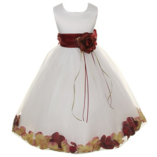 Little Girls White Sleeveless Satin Bodice Floating Flower Petals Girl Dress with Matching Organza Sash and Double Tulle Skirt - Burgundy Set - Size 4]()
