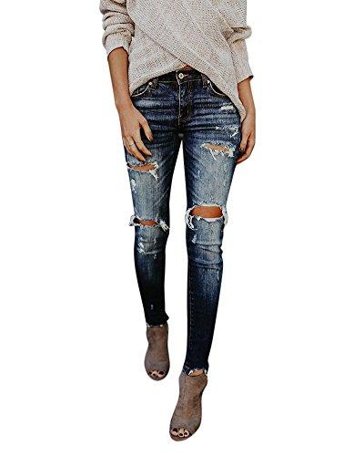 Skinny Sottile Pantaloni Matita Da Jeans Marino Blu A Strappati Donna BItISX