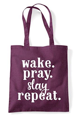 Tote Repeat Pray Slay Plum Wake Shopper Statement Bag zEIqwdv