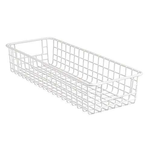 InterDesign Classico Wire Storage Basket with Handles for Organizing Kitchen Cabinets, Pantry – White