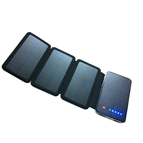 Zebora Powerful Portable Solar Charger Equipped with 4 Foldable Solar Panels & 10,000 mAh Dual USB Ports Power Bank for Mobile Devices, Pads & More Other USB-charged Devices by Zebora (Image #7)'