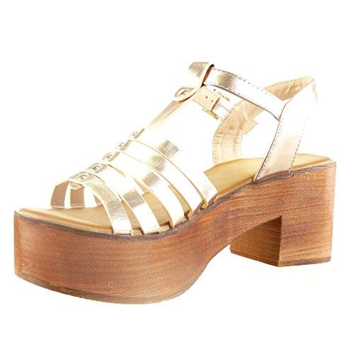 Angkorly - Zapatillas de Moda Sandalias correa zapatillas de plataforma mujer multi-correa tachonado madera Talón Tacón ancho alto 7 CM - Champán