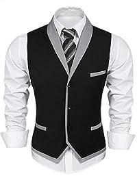 COOFANDY Men's Suit Vest Slim Fit V Neck Dress Waistcoat Business Wedding Vests