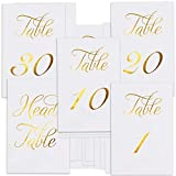 ZICOTO Classy Gold Wedding Table Numbers in Double Sided Gold Foil Lettering with Head Table Card - 4'' x 6'' and Numbered 1-30 - Perfect for Weddings and Events