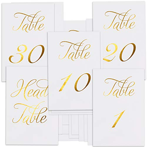 ZICOTO Classy Gold Wedding Table Numbers in Double Sided Gold Foil Lettering with Head Table Card - 4