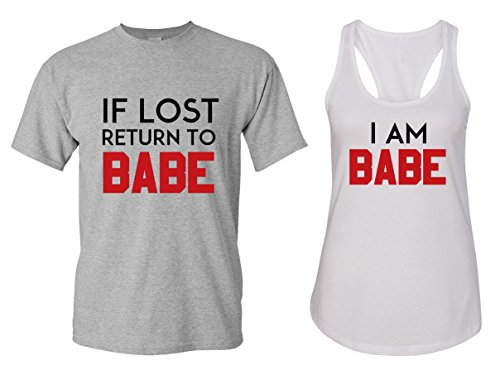 If Lost Return to Babe & I Am Babe Couple T Shirts - His and Hers Racerback Tank Tops ()