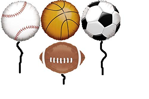 Sports Themed Party Supplies 18 Inch Mylar Balloon Bundle: One Balloon Each of Basketball, Baseball, Football & Soccer Balls for Birthday, Sporting Events, Tailgating, Centerpiece]()